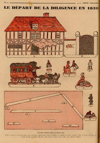 Coeurs Vaillants 1936 - n°10 - page 12 - Le départ de la diligence en 1836 - 8 mars 1936
