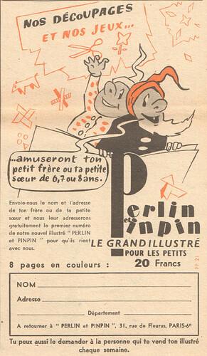 Fripounet et Marisette 1956 - n°42 - Publicité pour le magazine Perlin et pinpin - 14 octobre 1956 - page 9
