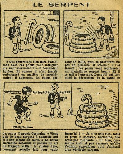 Fillette 1933 - n°1294 - page 11 - Le serpent - 8 janvier 1933