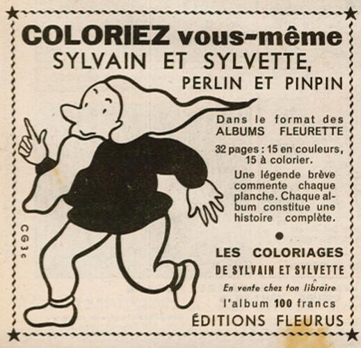 Fripounet et Marisette 1955 - n°50 - Publicité pour un album de coloriages Perlin et Pinpin - 11 décembre 1955 - page 7