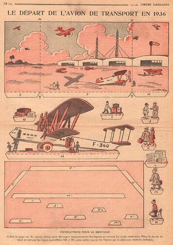 Coeurs Vaillants 1936 - n°15 - page 12 - Le départ de l'avion de transport en 1936 - 12 avril 1936