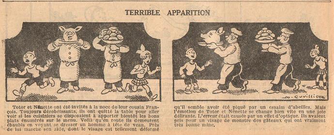 Le Petit Illustré 1929 - n°1290 - page 14 - Terrible apparition - 30 juin 1929