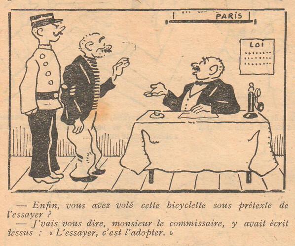 Le Pêle-Mêle 1928 - n°245 - page 16 - En fin vous avez volé cette bicyclette - 28 octobre 1928