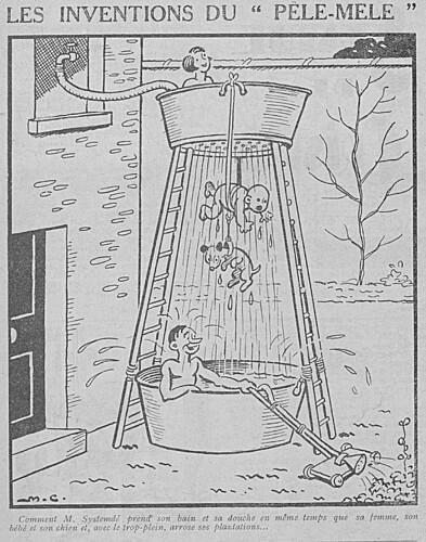 Le Pêle-Mêle 1930 - n°312 - Comment M. Systemdé prend son bain et sa douche en même temps - 9 février 1930 - page 12