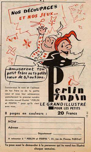 Ames Vaillantes 1956 - n°42 - 14 octobre 1956 - Publicité pour le magazine Perlin et Pinpin