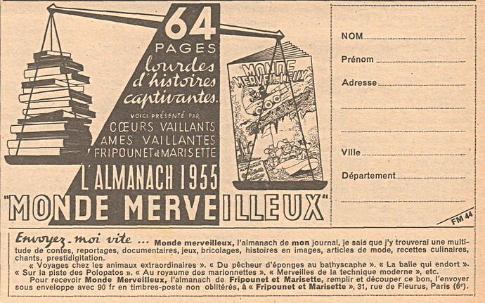 Fripounet et Marisette 1954 - n°44 - Publlicité pour l'almanach 1955 Monde Merveilleux - 31 octobre 1954 - page 6