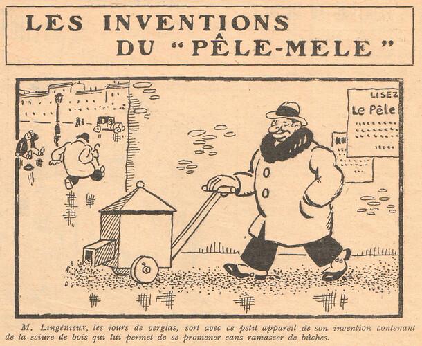 Le Pêle-Mêle 1929 - n°299 - M. Lingénieux les jours de verglas - 10 novembre 1929 - page 11