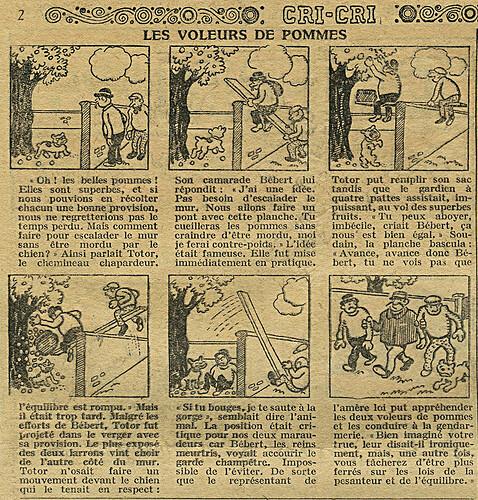Cri-Cri 1926 - n°411 - page 2 - Les voleurs de pommes - 12 août 1926