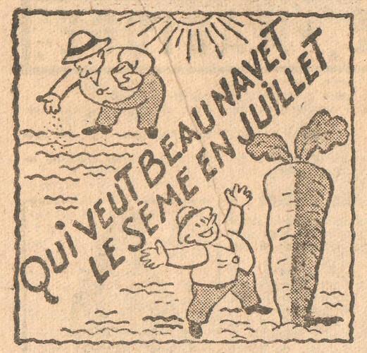 Almanach CV-AV 1946 - REBATIR - page 25 - Proverbe de Juillet