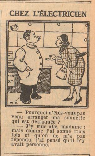 Le Petit Illustré 1929 - n°1289 - page 7 - Chez l'électricien - 23 juin 1929