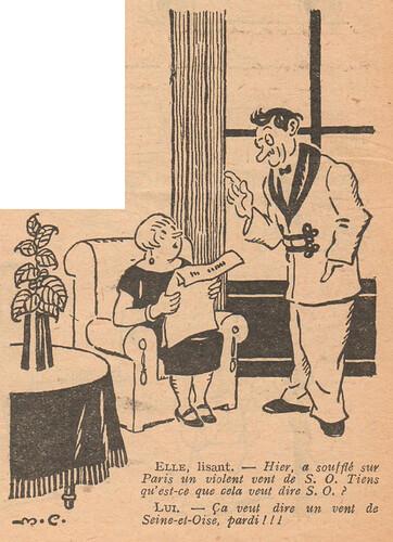 Le Pêle-Mêle 1927 - n°189 - page 16 - Elle lisant - Hier a soufflé sur Paris un violent vent de S.O. - 2 octobre 1927
