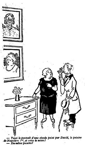 Le Pêle-Mêle 1926 - n°102 - page 16 - Voici le portrait d'une aïeule peint par David (G) - 21 janvier 1926
