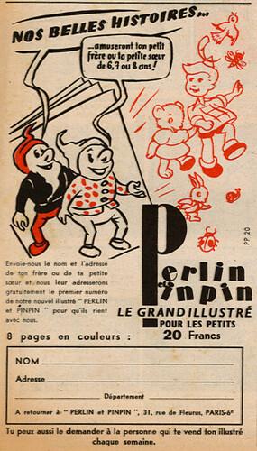 Ames Vaillantes 1956 - n°41 - 7 octobre 1956 - Publicité pour le magazine Perlin et Pinpin