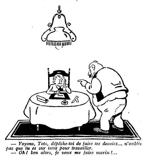 Le Pêle-Mêle 1925 - n°91 - page 7 - Voyons Toto dépêche-toi de faire tes devoirs (G) - 15 novembre 1925