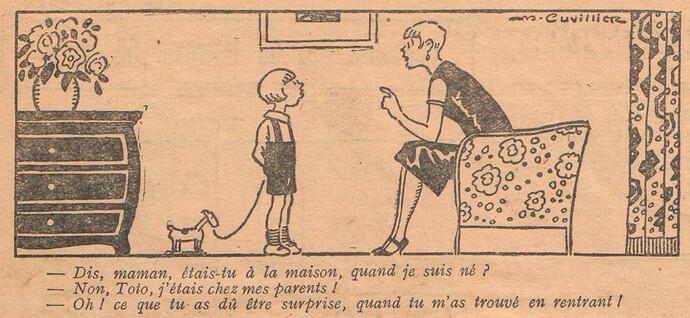 Le Pêle-Mêle 1927 - n°190 - page 7 - Dis maman étais-tu à la maison quand je suis né - 9 octobre 1927