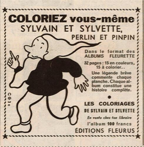 Fripounet et Marisette 1955 - n°44 - Publicité pour album de coloriage Perlin et Pinpin - 30 octobre 1955 - page 7