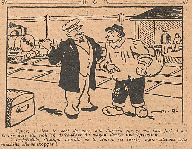 Le Pêle-Mêle 1928 - n°242 - page 6 - Tenez m'sieur le chef de gare - 7 octobre 1928
