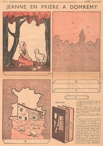 Coeurs Vaillants 1936 - n°19 - page 12 - Jeanne en prière à Domrémy - 10 mai 1936