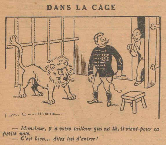 Le Pêle-Mêle 1927 - n°163 - page 19 - Dans la cage - 3 avril 1927