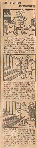 Le Petit Illustré 1929 - n°1267 - page 2 - Les tiroirs improvisés - 20 janvier 1929