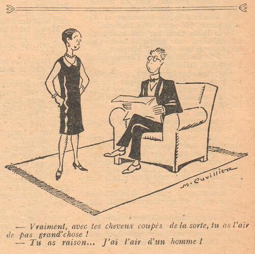 Le Pêle-Mêle 1928 - n°245 - page 6 - Vraiment avec tes cheveux coupés de la sorte - 28 octobre 1928