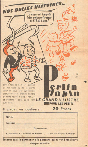 Fripounet et Marisette 1956 - n°41 - Publicité pour le magazine Perlin et pinpin - 7 octobre 1956 - page 9