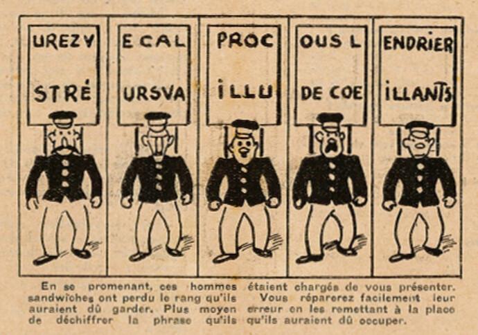 Coeurs Vaillants 1937 - n°2 - pages 4 et 5 - Quelle est la phrase des hommes sandwiches - 10 janvier 1937