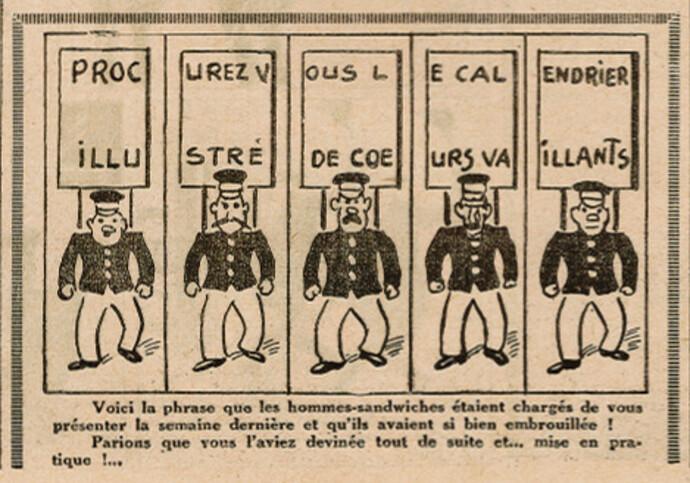 Coeurs Vaillants 1937 - n°3 - page 6 - La phrase des hommes sandwiches - 17 janvier 1937