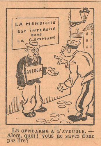 Le Petit Illustré 1929 - n°1306 - page 14 - Le gendarme à l'aveugle - 20 octobre 1929