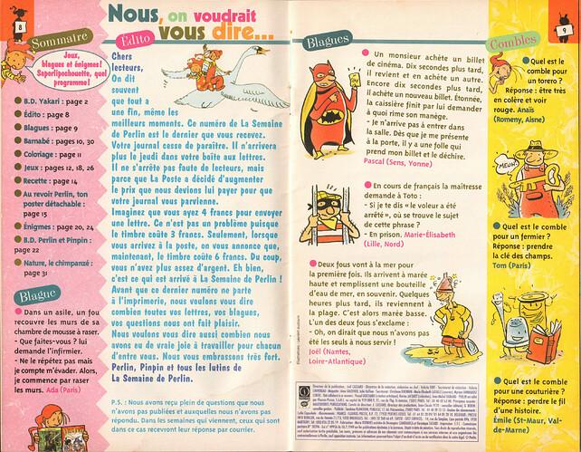 Semaine de Perlin - n°1122 - du 27 juin au 3 juillet 1998 - pages 8 et 9