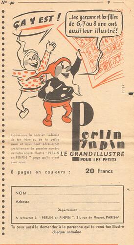 Fripounet et Marisette 1956 - n°40 - Publicité pour le magazine Perlin et pinpin - 30 septembre 1956 - page 9