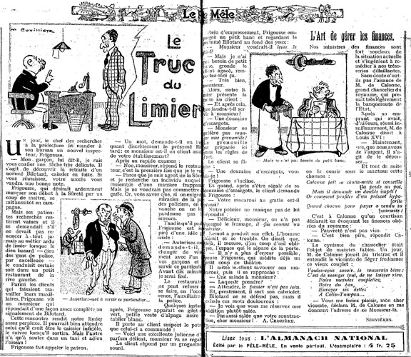 Le Pêle-Mêle 1925 - n°84 - pages 10 et 11 - Le truc du limier (G) - 27 septembre 1925
