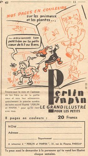 Fripounet et Marisette 1956 - n°43 - Publicité pour le magazine Perlin et pinpin - 21 octobre 1956 - page 11