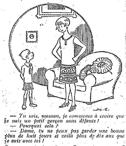 Le Pêle-Mêle 1927 - n°185 - page 10 - Tu sais maman je commence à croire que je suis un petit garçon sans défauts (G) - 4 septembre 1927