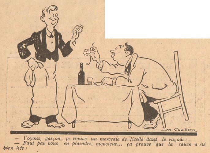 Le Pêle-Mêle 1925 - n°65 - page 6 - Voyons garçon je trouve un morceau de ficelle - 17 mai 1925