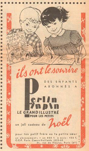 Fripounet et Marisette 1956 - n°50 - Publicité pour le magazine Perlin et pinpin - 9 décembre 1956 - page 4