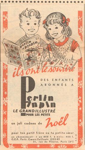 Fripounet et Marisette 1956 - n°51 - Publicité pour le magazine Perlin et pinpin - 16 décembre 1956 - page 9