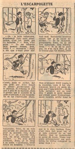 Le Petit Illustré 1929 - n°1277 - page 7 - L'escarpolette - 31 mars 1929