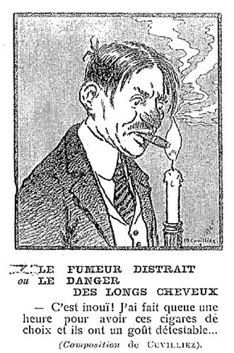 Le Pêle-Mêle 1918 - n°42 - Le fumeur distrait ou Le danger des longs cheveux - 20 octobre 1918 - page 11