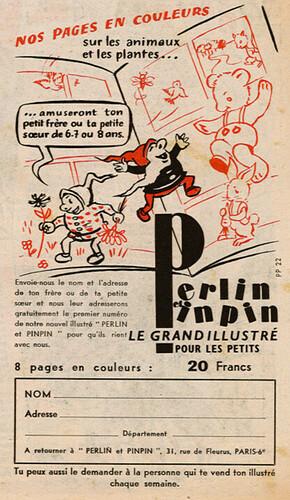 Ames Vaillantes 1956 - n°43 - 21 octobre 1956 - Publicité pour le magazine Perlin et Pinpin