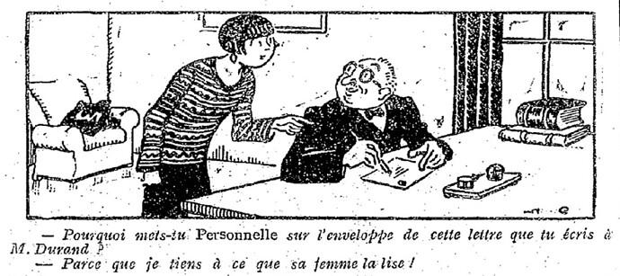 Le Pêle-Mêle 1927 - n°195 - page 14 - Pourquoi mets-tu Personnelle sur l'enveloppe de cette lettre que tu écris à M. Durand (G) - 13 novembre 1927