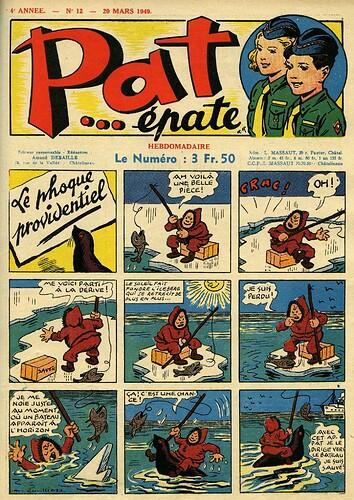 Pat épate 1949 - n°12 - page 1 - Le phoque providentiel - 20 mars 1949