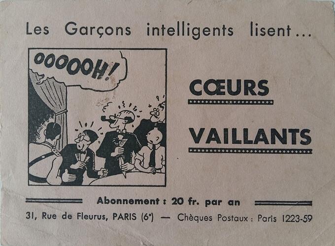 Buvard Coeurs Vaillants 20 Fcs - 3 - Tintin et les cigares du pharaon