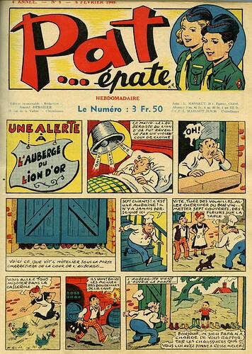 Pat épate 1949 - n°6 - page 1 - Une alerte à l'auberge du Lion d'Or - 6 février 1949
