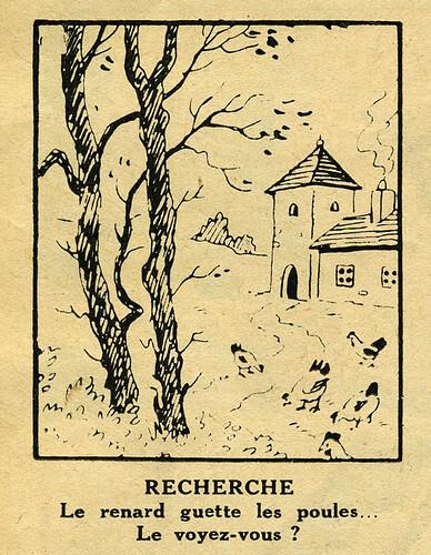 Pat épate 1949 - n°3 - page 14 - Recherche - Le renard guette les poules - 16 janvier 1949