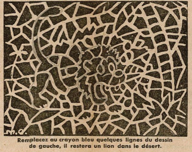 Ames Vaillantes 1938 - n°25 - pages 4 et 5 - Le lion caché dans le desert - 23 juin 1938