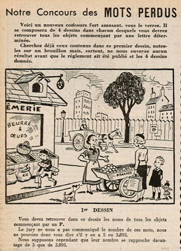 Ames Vaillantes 1938 - n°34 - page 2 - Concours des Mots Perdus (1er dessin) - 25 août 1938