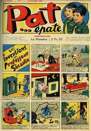 Pat épate 1949 - n°7 - page 1 - Les inventions du Professeur Sécante - 13 février 1949