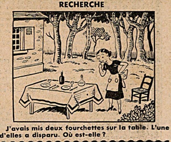 Ames Vaillantes 1938 - n°28 - page 5 - Recherche - J'avais mis deux fourchettes sur la table - 14 juillet 1938