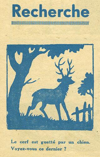 Pat épate 1949 - n°12 - page 12 - Recherche - Le cerf est quetté par un chien - 20 mars 1949